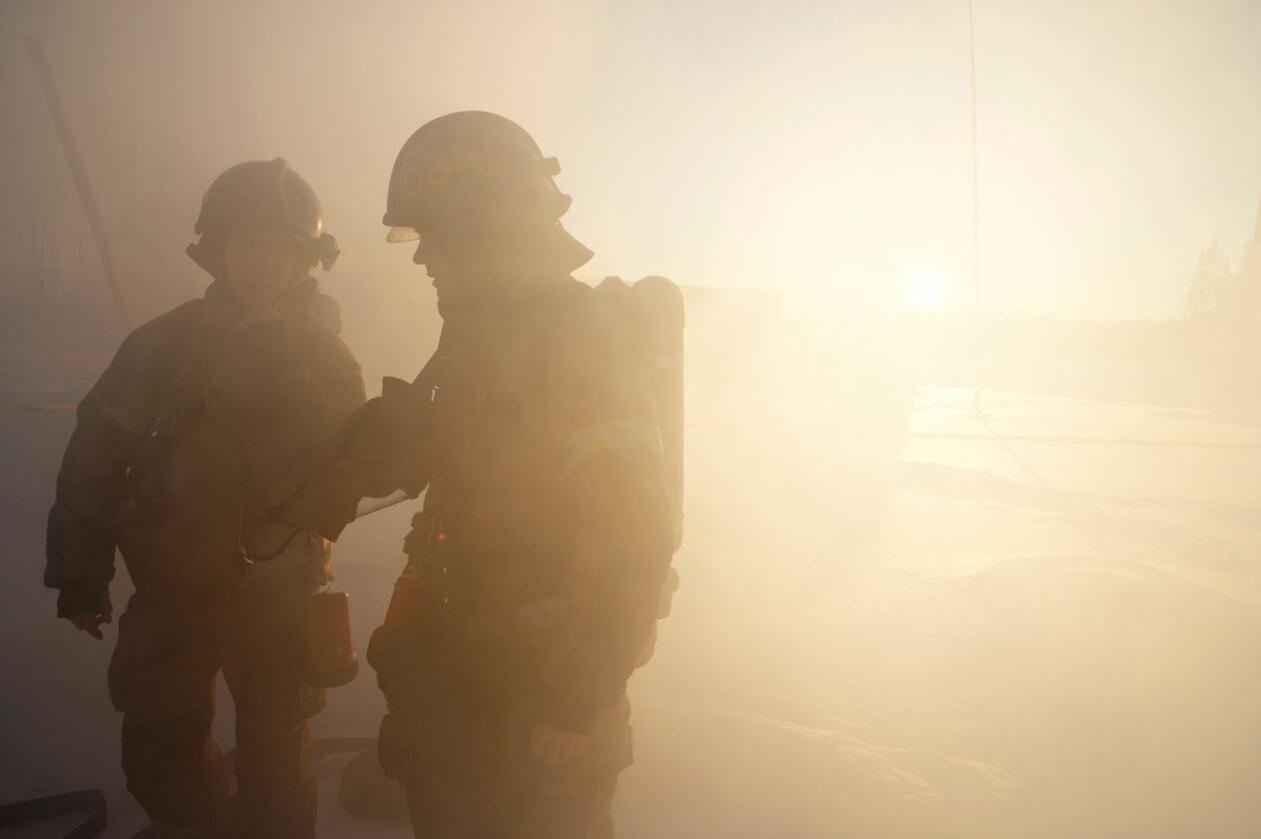 Brannmenn under en brannøvelse.Foto: Berit Roald / NTB