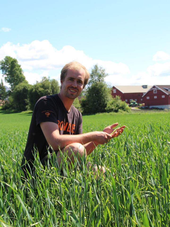 MANGE FAKTORER: Stange-bonde Gjermund Ruud Skjeseth tror at mange stoler for mye på de teknologiske hjelpemidlene, og glemmer at faktorer som grøfting og jord-pH, er like viktig for et vellykket resultat.