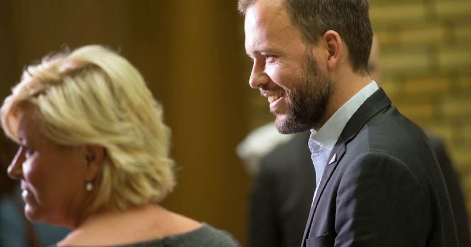 SV-leder Audun Lysbakken håver inn medlemmer etter Siv Jensens utsagn om «jævla sosialister». Arkivfoto: Terje Bendiksby / NTB scanpix