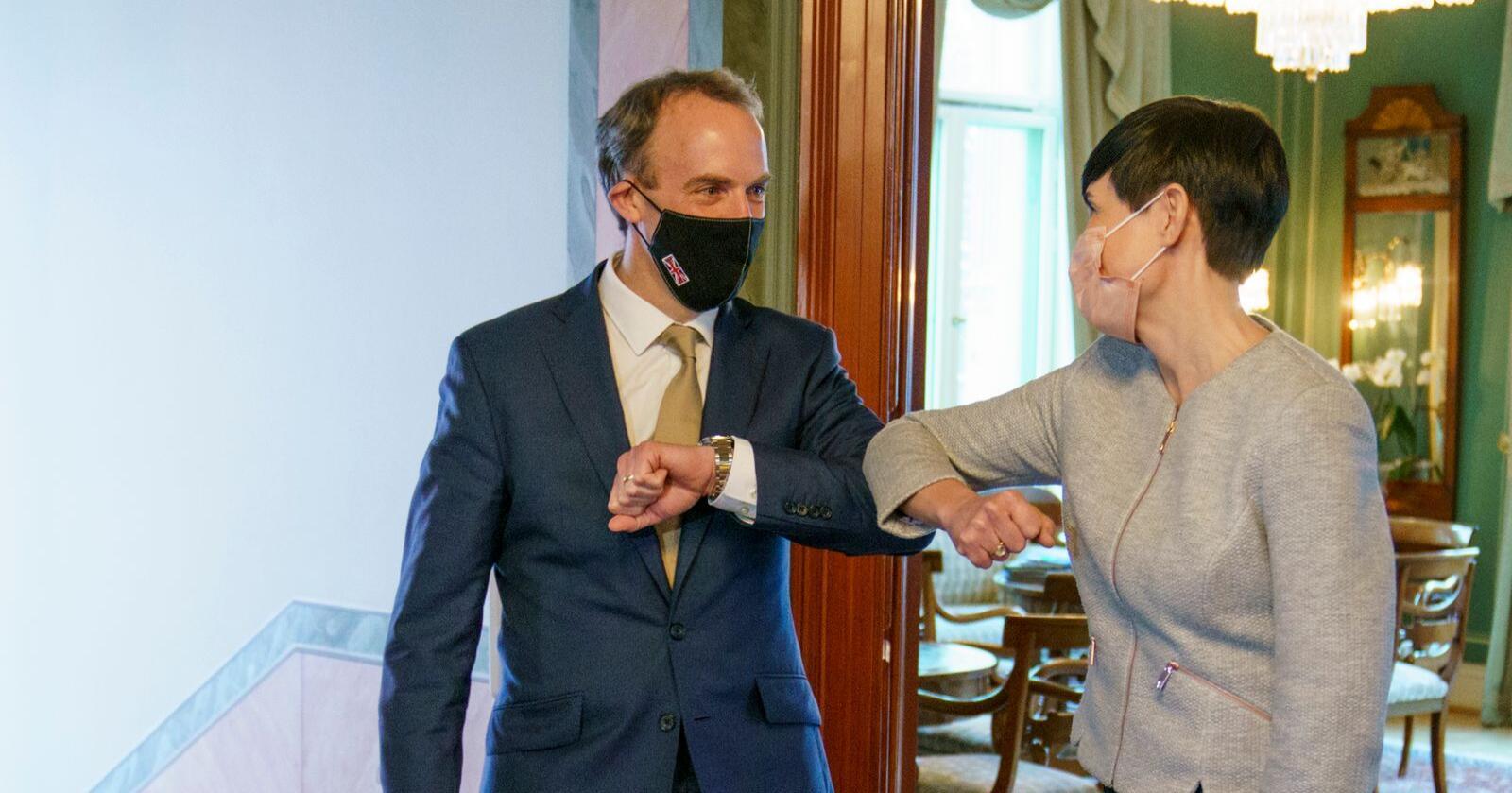 Utenriksminister Ine Eriksen Søreide møtte i mars Storbritannias utenriksminister Dominic Raab. Foto: Torstein Bøe / NTB