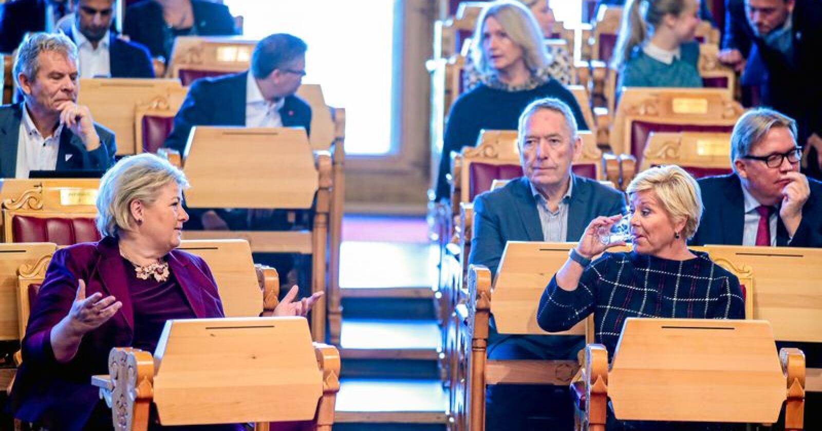 Stortinget mandag: Statsminister Erna Solberg (H) og finansminister Siv Jensen (Frp) er klare for framlegging av statsbudsjettet for 2020.Foto: Håkon Mosvold Larsen / NTB scanpix