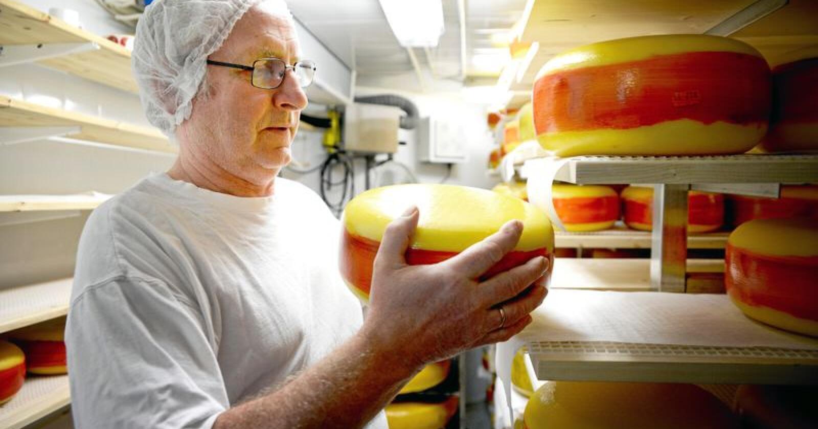 Ostegården med osten Fanaost ble kåret til verdens beste ost under oste VM i Bergen i november 2018. Jørn Hafslund fortel om ein arbeidssam prosess for å modne osten. Foto: Mariann Tvete