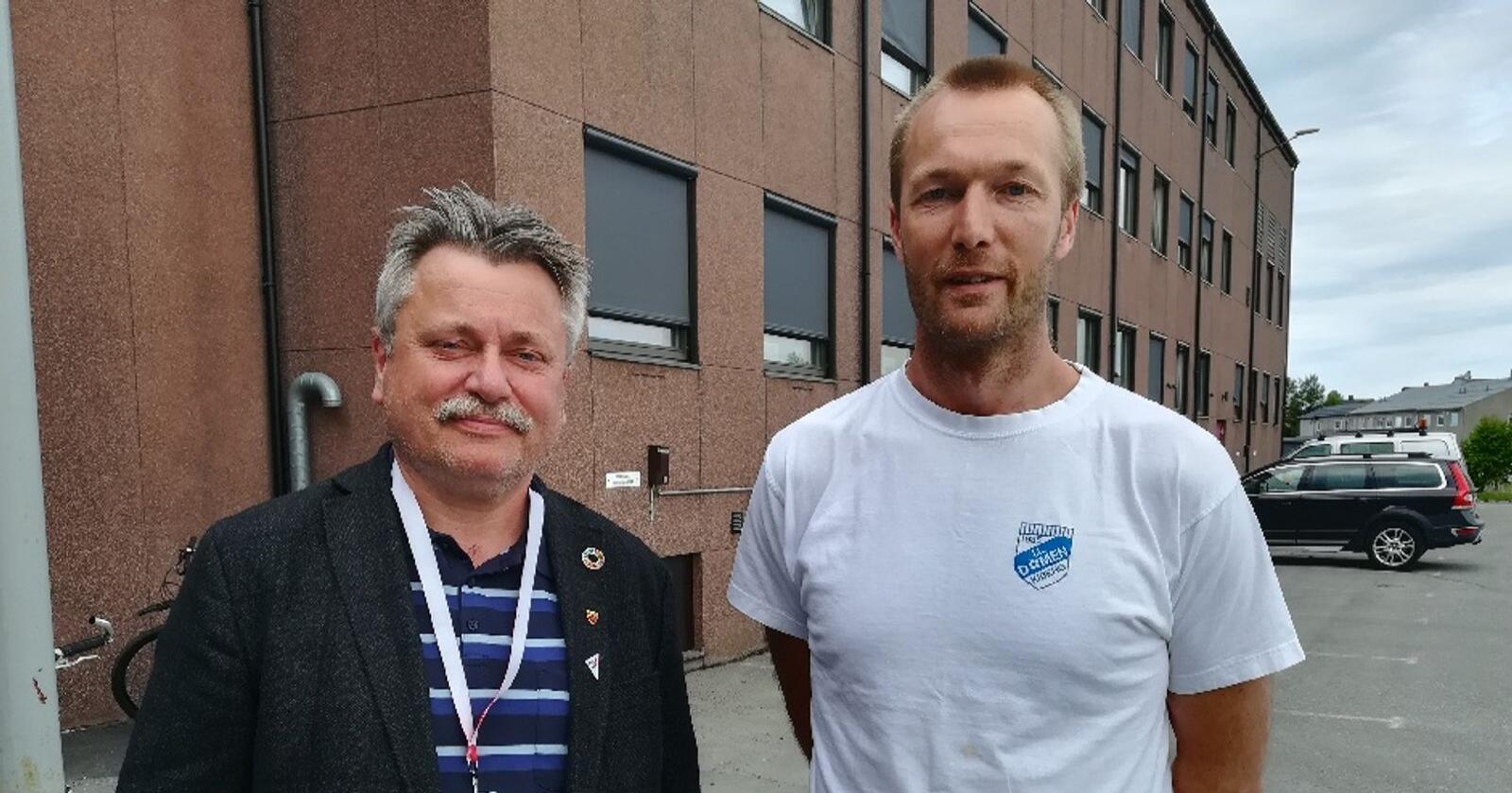 Pål Gabrielsen frå SV Sør-Varanger og Marius Møllersen i Sør-Varanger Arbeiderparti. Foto: Privat