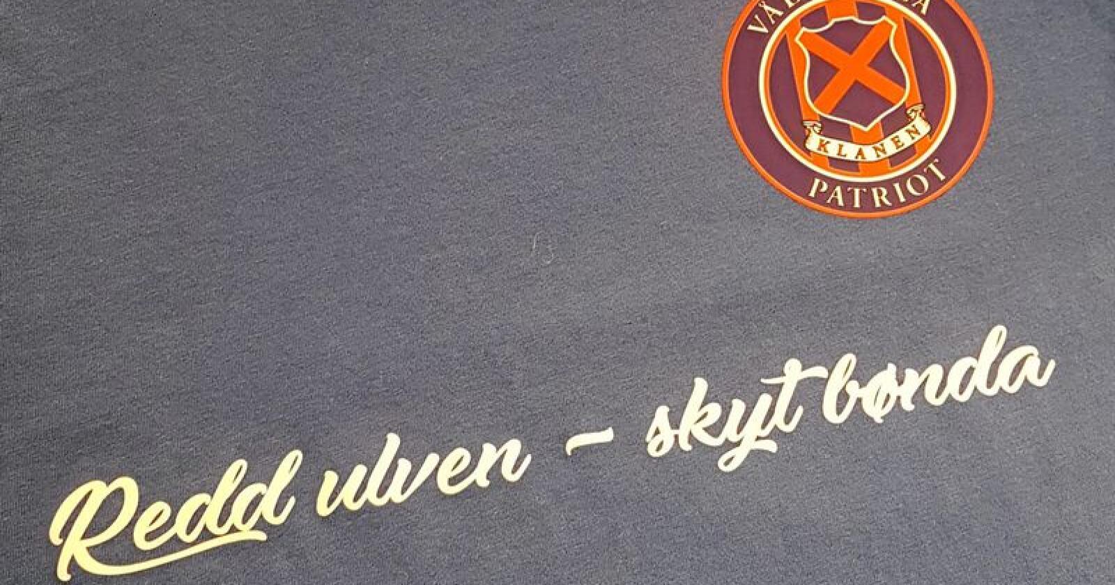 «Redd ulven skyt bønda» står det på de nye t-skjortene til Klanen. Foto: Kristian Kjellsen / Klanen.no
