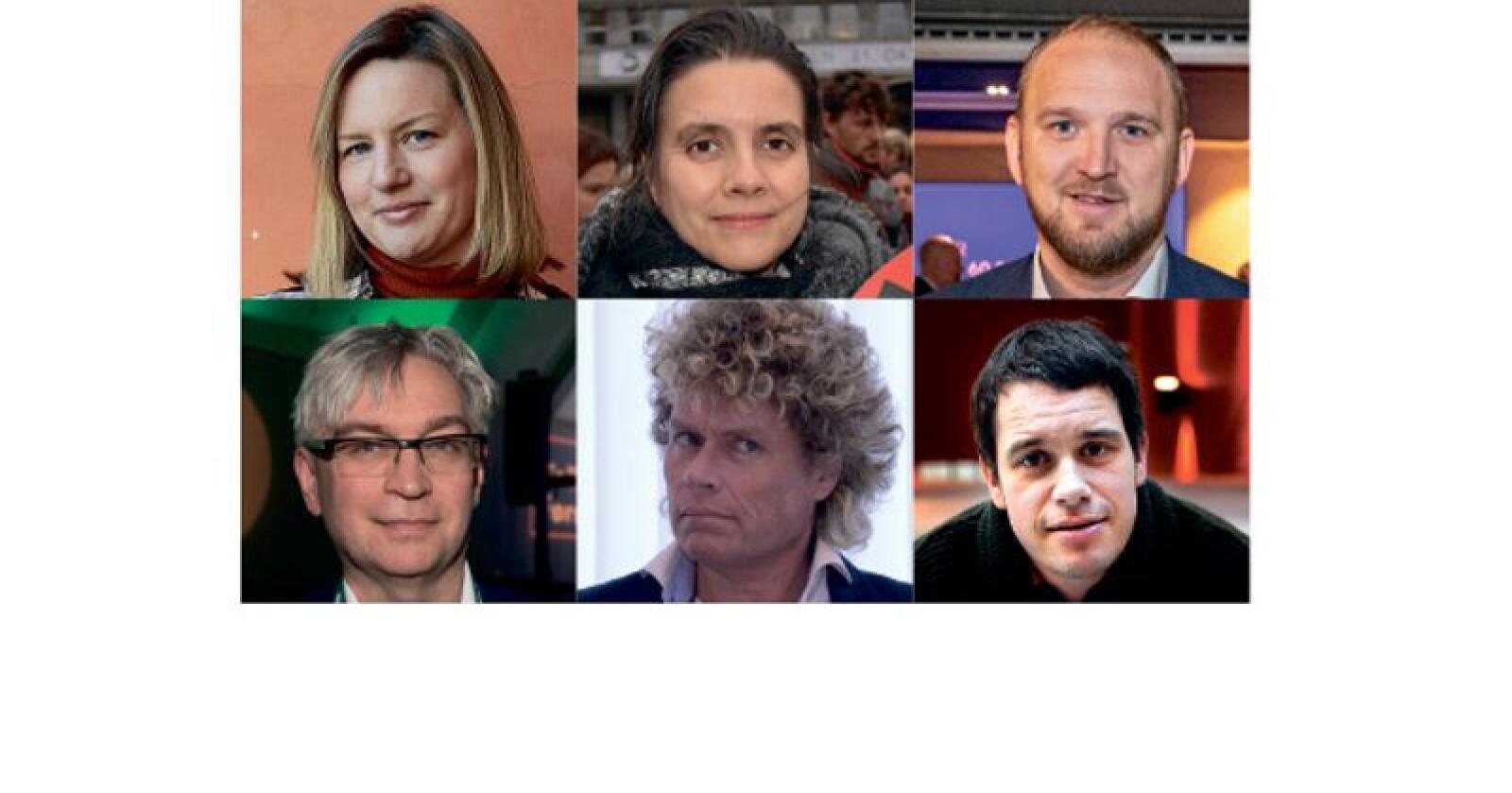 Ute av lista: Øverst fra venstre; Ragna Kronstad, Siri Martinsen, Jon Georg Dale, Andre Nikolai Skjeldstad, Dag Jørund Lønning  og Svenn Arne Lie.  Foto: Nationen / NTB scanpix