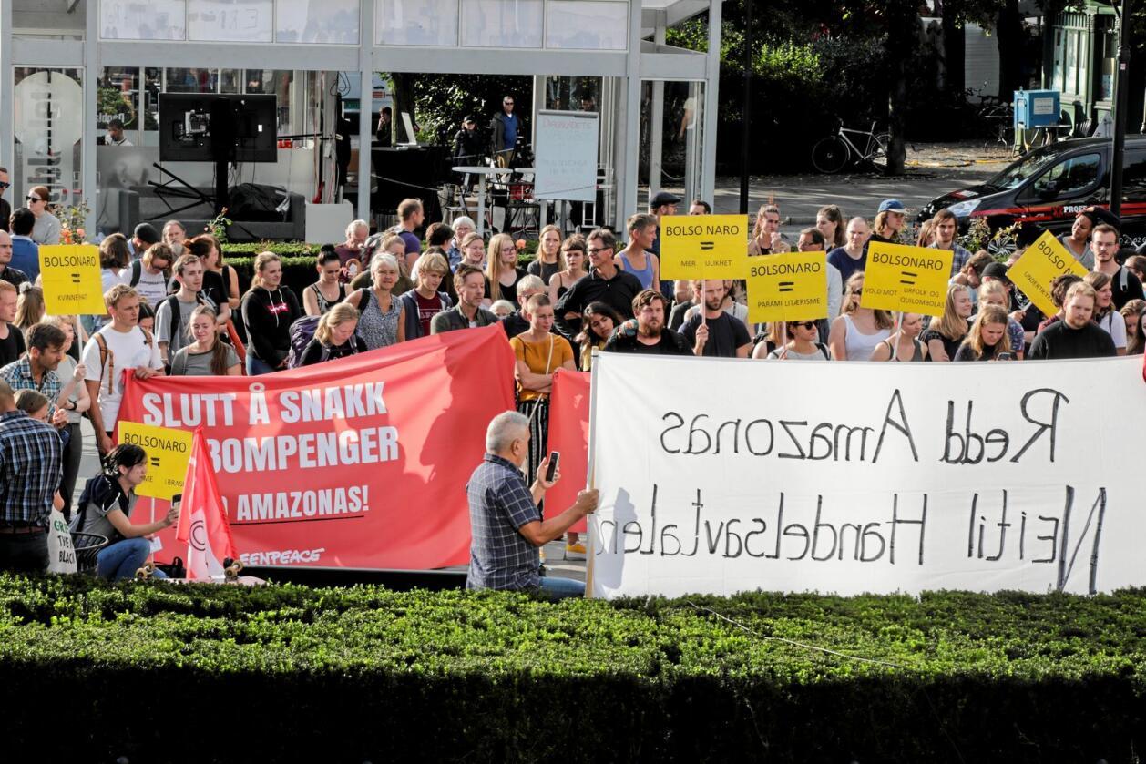 Rundt 200 personer demonstrerte utenfor Stortinget i august i fjor for å vise motstand mot handelsavtalen med Brasil. Foto: Vidar Ruud / NTB scanpix