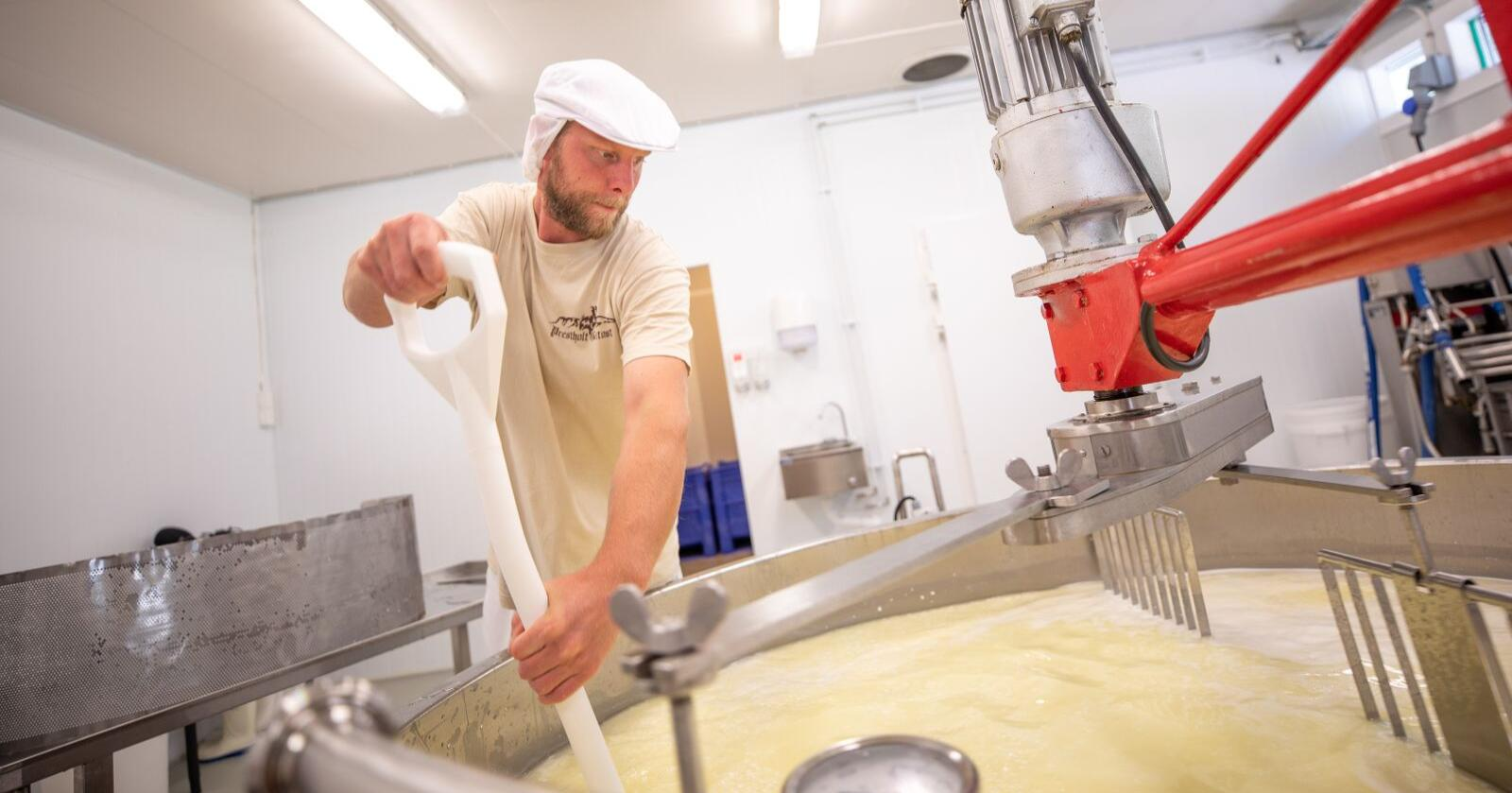 Tim Reidar Stenberg Hol Ysteri lager mange av de 26 ostene som produseres i Ostebygda. Foto: Emile Holba