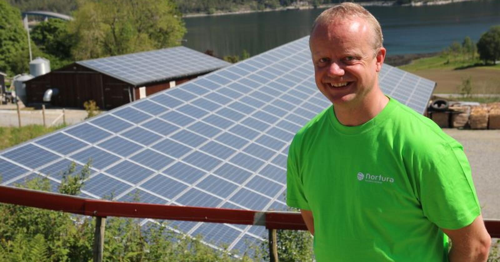 Anlegget til Olav Håkon Ulfsnes har vært i drift siden 5. april, men produserer ikke for fult på grunn av begrensningene i eksporten av strøm. Partnerne i prosjektet er enige om å bruke tiden fram til august på å finne den beste løsningen for strømeksporten til nettet. (Foto: Lars Olav Haug)