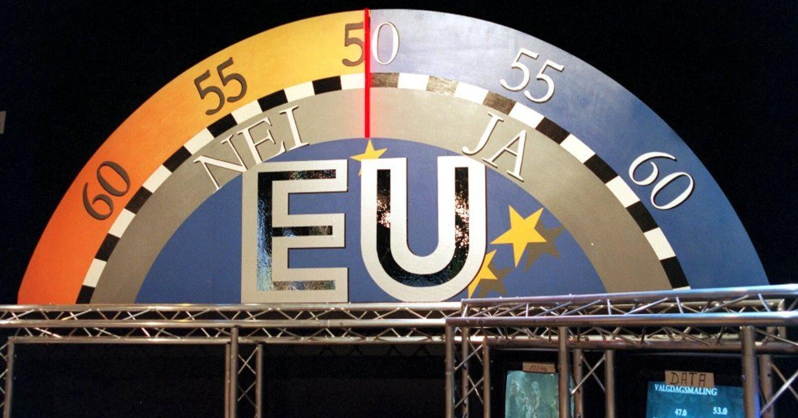 Folkeavstemning: Ingen nordmenn under 45 år har fått sagt vår mening om norsk medlemskap i EU, skriver Knut André Sande. Her EU-barometeret i NRK-studio i 1994. FOTO: Erik Johansen / NTB
