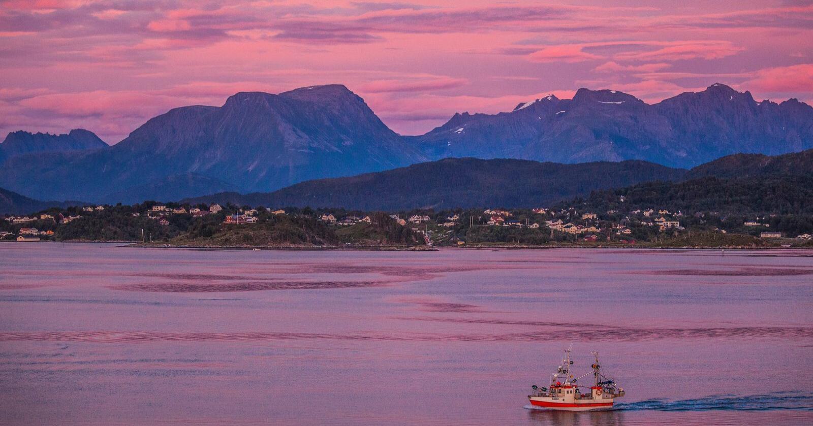 Liten fiskebåt på vei inn Hessafjorden til Ålesund.Foto: Halvard Alvik / NTB