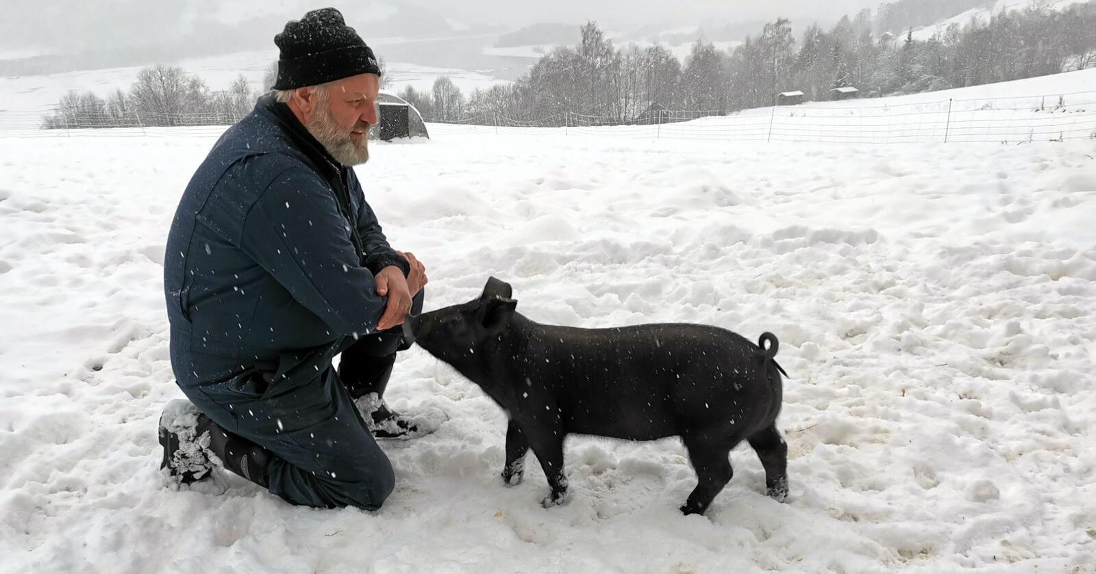 Ole Smidesang stilte sine griser til disposisjon i forsøket. Foto: Skåppå kunnskapspark