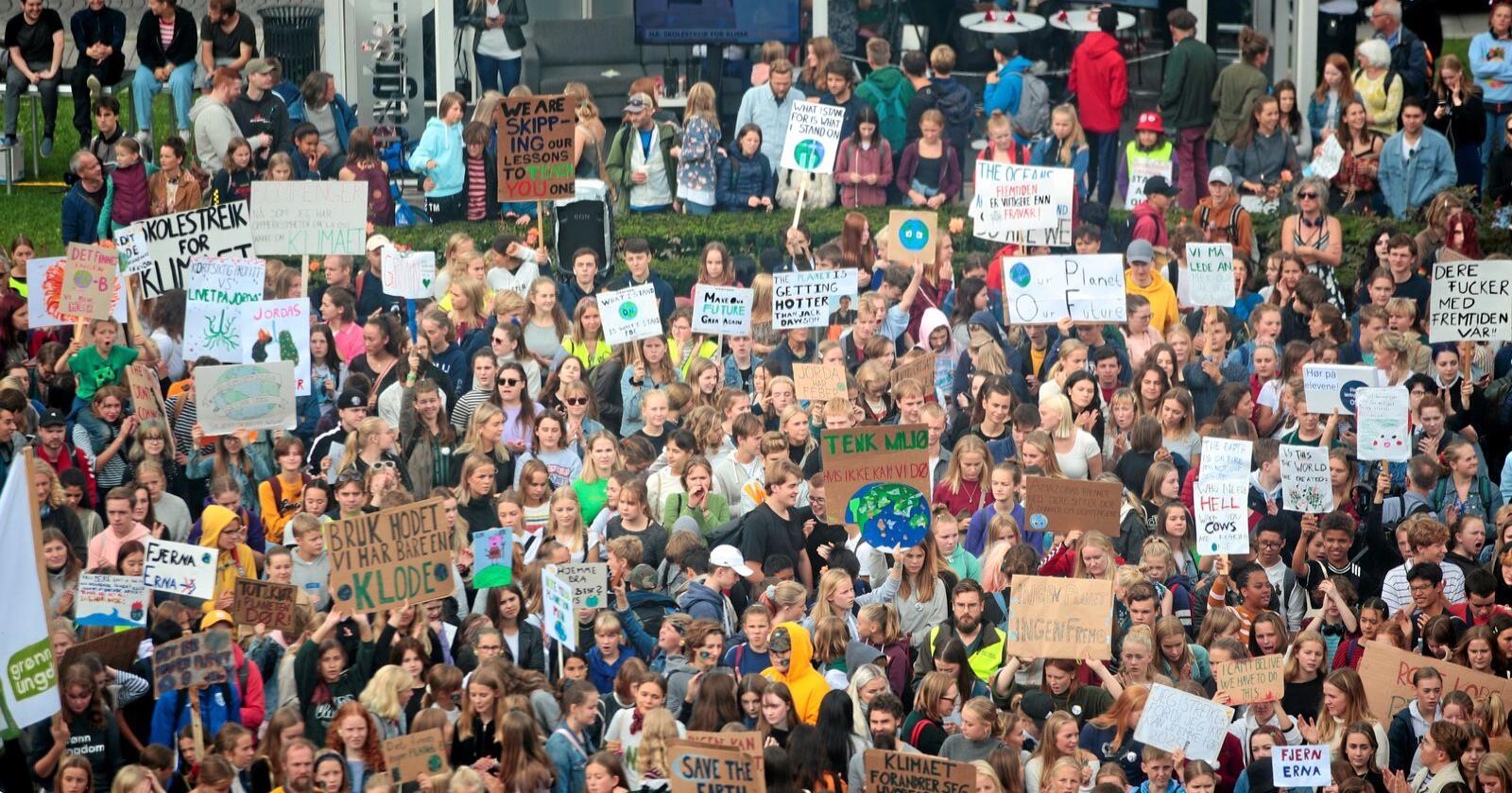 Klimastreik: Det har blitt arrangert klimastreik over 100 stader i 2019. Foto: Håkon Mosvold Larsen / NTB scanpix