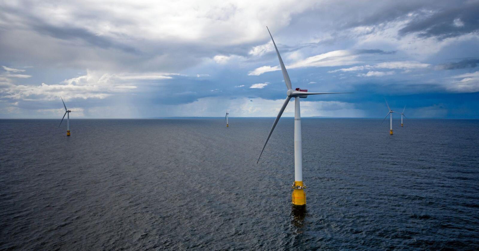 Havvind kan bli en stor industri i årene framover, ifølge ny rapport. Her fra Equinors Hywind Buchan vindmølleanlegg  utenfor Skottland. Foto: Øyvinf Gravås / Equinor / NTB