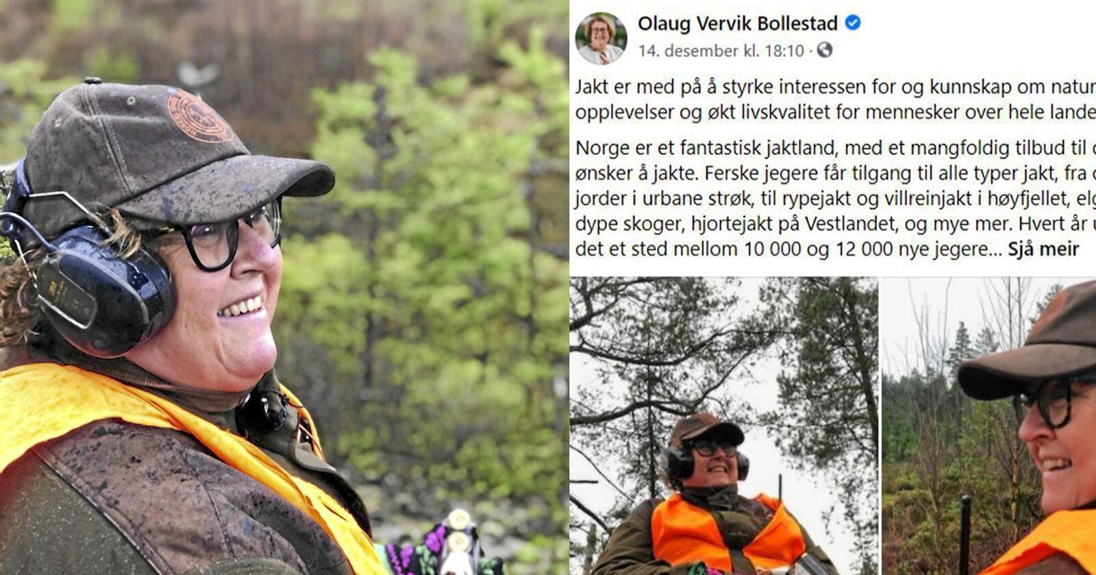 Olaug Bollestad blir kvalm å se stygge kommentarer i kommentarfeltet på sosiale medier. Foto: LMD og Skjermdump / Facebook