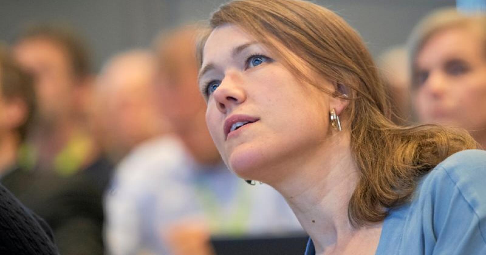 MDGs nasjonale talsperson Une Bastholm argumenterte for at partiet bør ha to nestledere – og fikk støtte for sitt syn. Foto: Terje Bendiksby / NTB scanpix