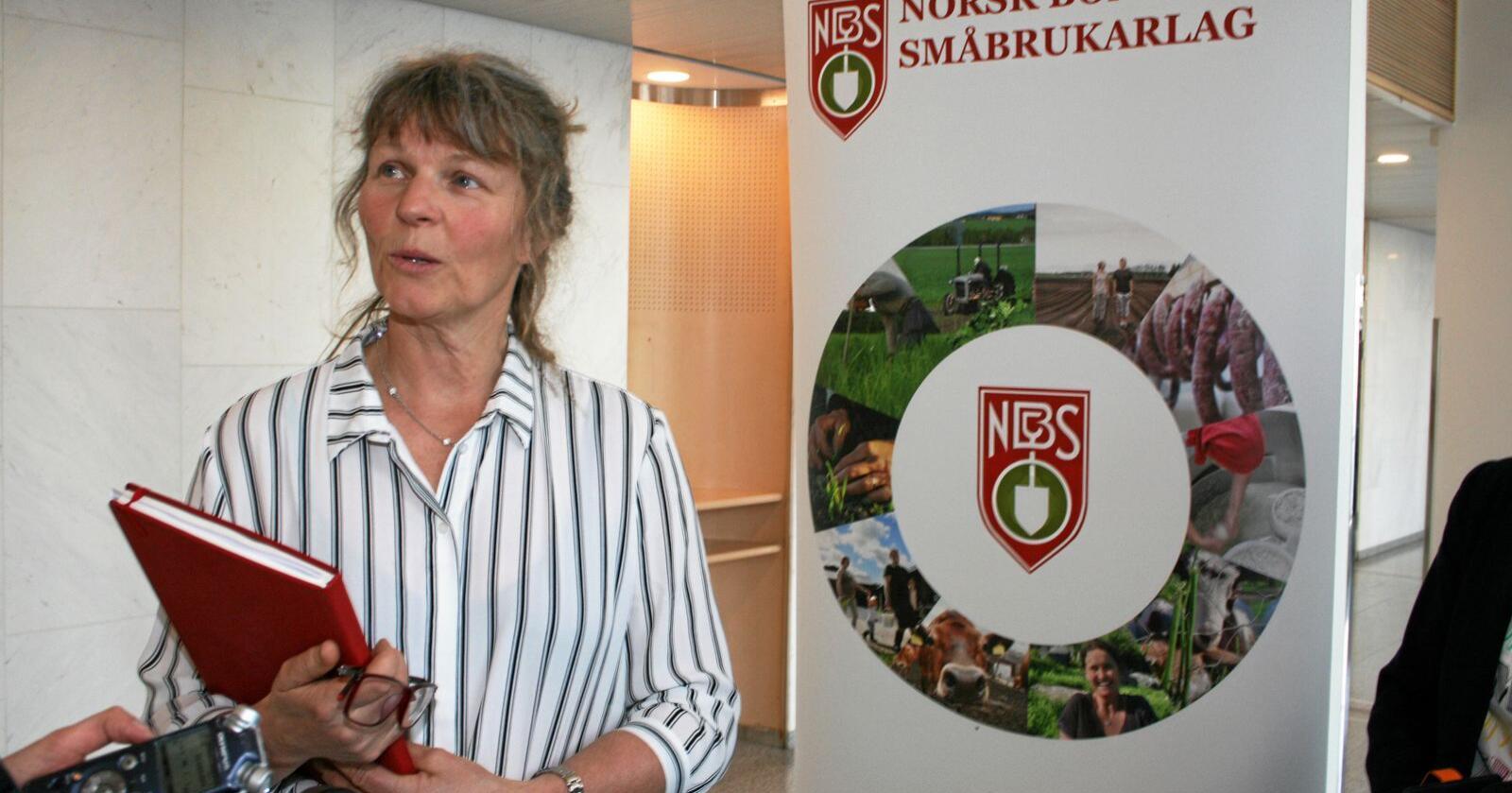Umogleg: Kjersti Hoff, leiar i Norsk Bonde- og Småbrukarlag, tar til orde for at det er umogleg å gjennomføre vanlege jordbruksforhandlingar i år. Foto: Bjarne Bekkeheien Aase