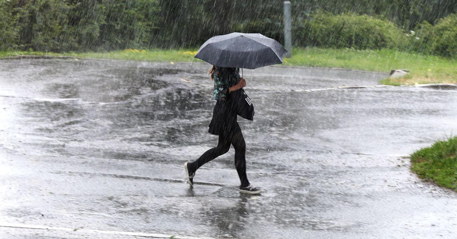 I juli og august i fjor førte kraftige regnskurar til øydeleggingar for 136 millionar, viser forsikringsstal. Foto: Vidar Ruud / NTB / NPK