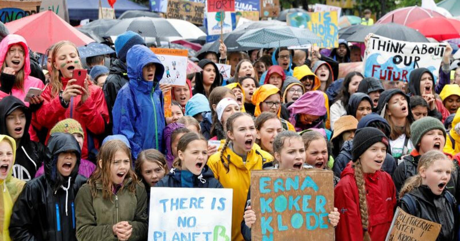 Anslagsvis 2.000 skoleelever trosset regnværet og deltok i klimaprotesten utenfor Stortinget i Oslo fredag. Foto: Ole Berg-Rusten / NTB scanpix