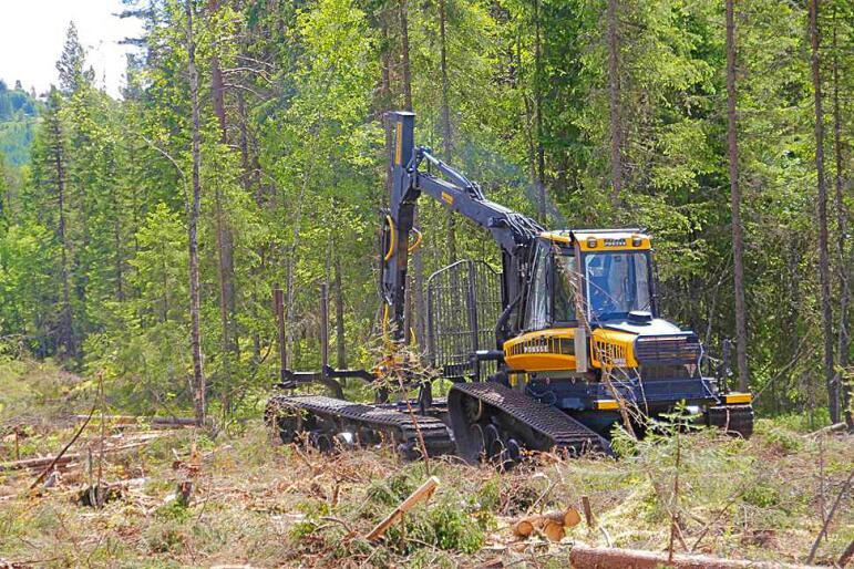 EU-støtte: Prosjektet OnTrack har fått støtte fra EU til å utvikle en skogbruksmaskin som går på gummibelter. Det gir mindre skader på bløt mark. Foto: Astri Kløvstad / Norsk Skogbruk