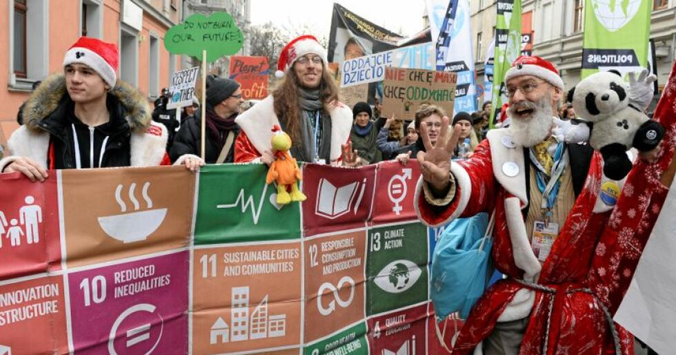 Katowice: Klimaaktivister i Katowice i Polen, i forbindelse med den pågående klimakonferansen. Foto: Alik Keplicz/AP/NTB scanpix