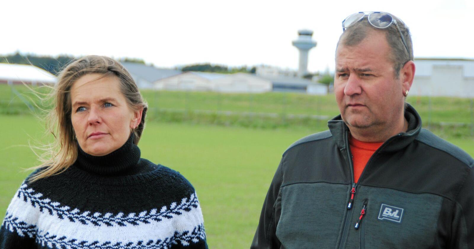 Aina og Kjetil Helland driver økologisk produksjon av sau og ammeku ved Torp Lufthavn i Sandefjord. Foto: Lars Bilit Hagen
