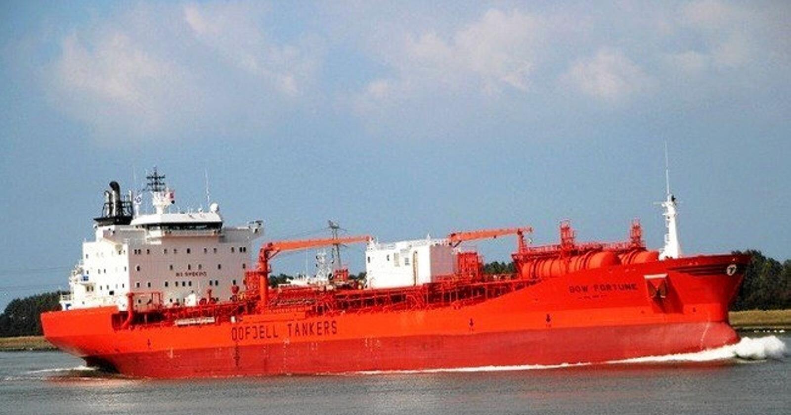 Odfjells kjemikalietanker Bow Fortune kolliderte med en fiskebåt i Texas tirsdag. To personer som var om bord på fiskebåten, er fortsatt savnet. Én person er bekreftet omkommet. Foto: Odfjell / NTB scanpix