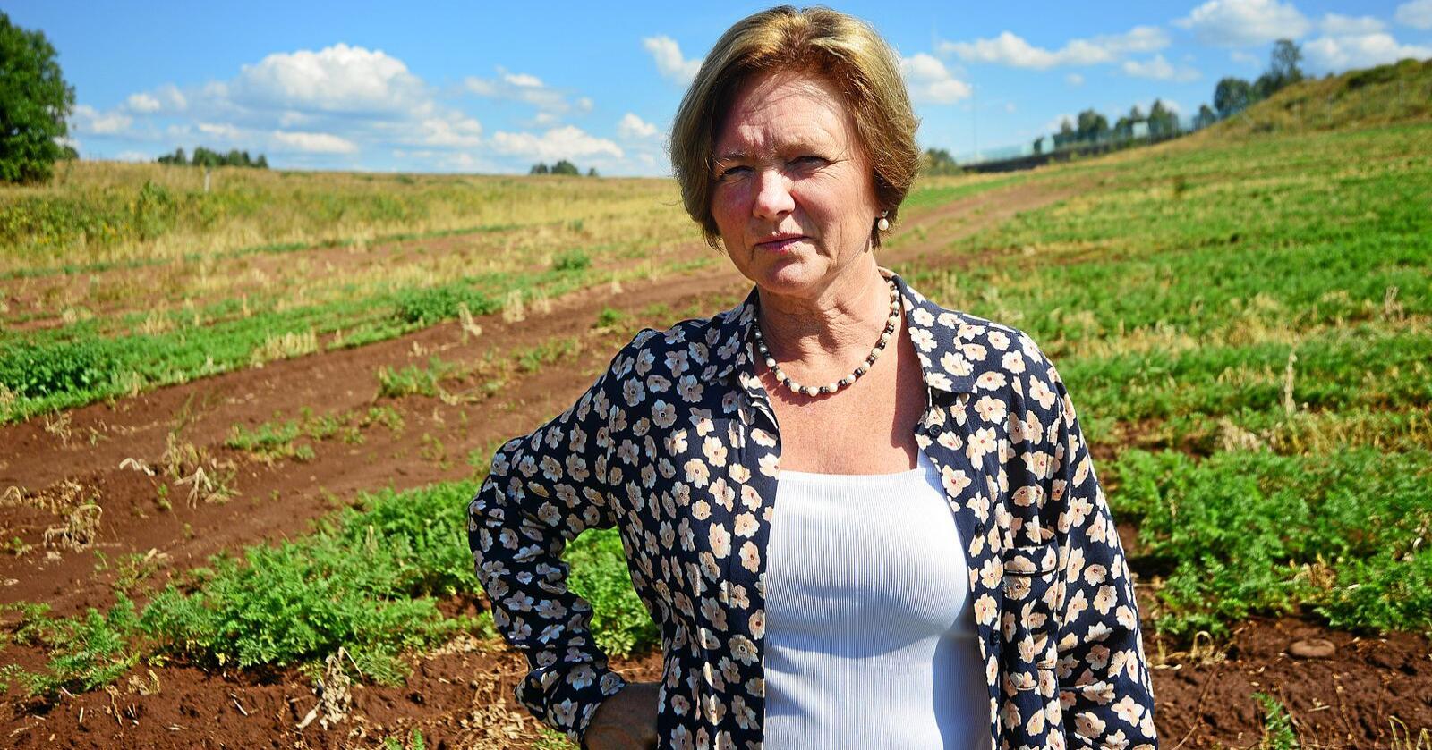 Elisabeth Morthen berømmer både Bama og handelen for å ha prioritert norskproduserte varer denne sesongen. Foto: Siri Juell Rasmussen