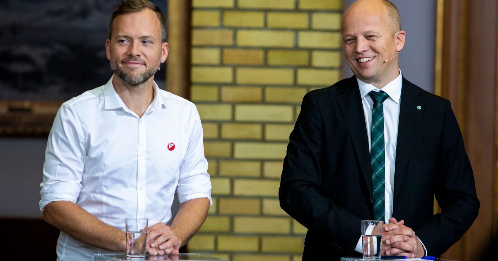 Aversjon: Trygve Slagsvold Vedum (t.h) er blitt for avvisende til SV og Audun Lysbakken, mener innsenderne. Foto: Tore Meek / NTB