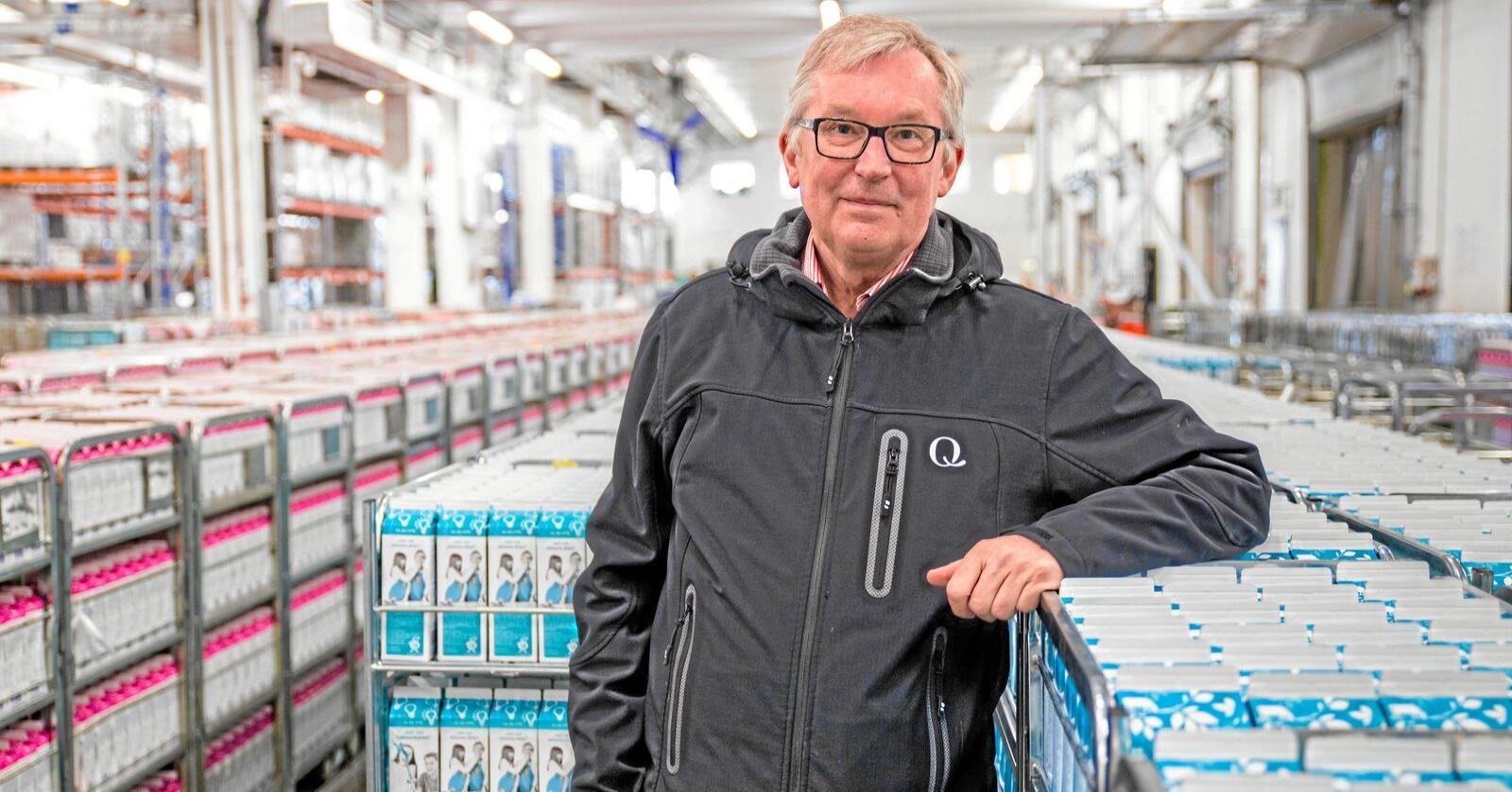 Bent Myrdahl i Q-meieriene er fornøyd med veksten i selskapet, selv om den ikke var så stor som de er vant til. Foto: Tore Myrstad