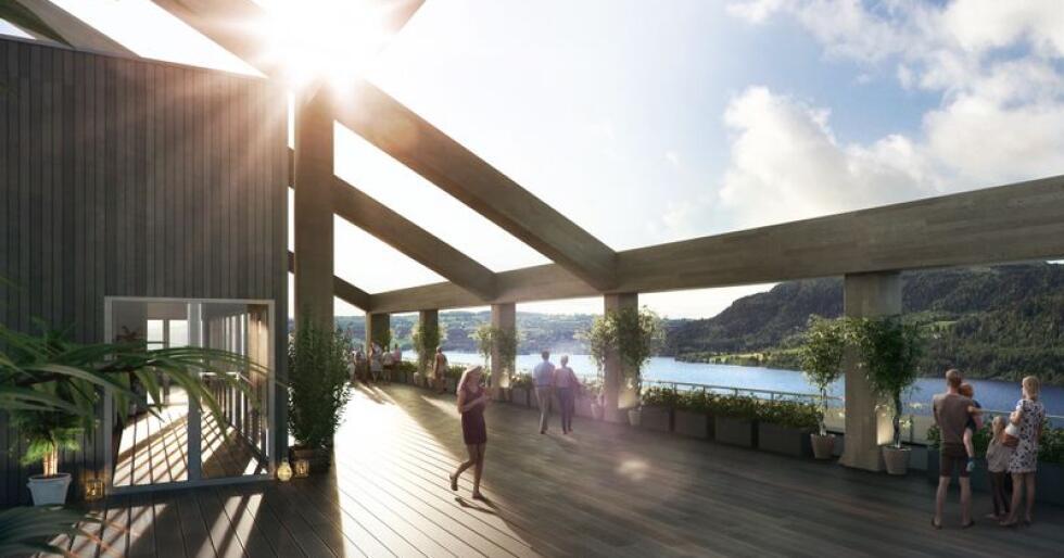 Det nye investeirngsselskapet Shelterwood AS skal i utgangspunktet investere i norske selskaper., og innovative løsninger i tre kan bli et viktig område for selskapet. Her sees noe av innsiden i det kommende Mjøstårnet i Brumunddal. Bygget overtar statusen som verdens høyeste hus i tre, og vil stå ferdig i løpet av 2018. Illustrasjon: Voll Arkitekter AS / EVE Images