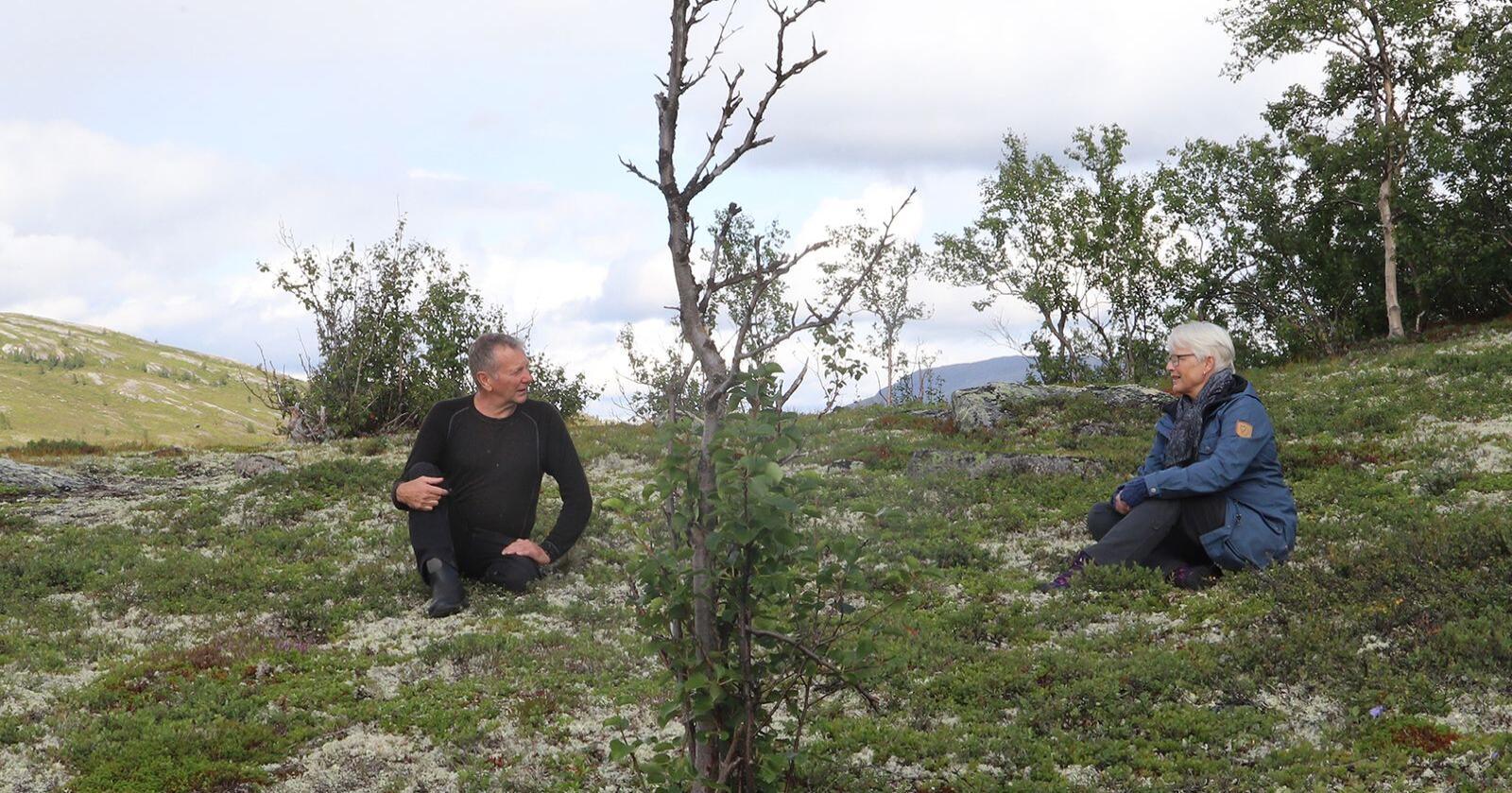 Det var slutt på mosesanking tildig på 1900-tallet. Pål Grev viser her frem hvor og hvordan det ble sanket mose i Vågå. Foto: Oskar Puschmann
