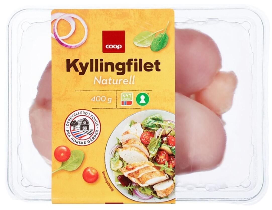 Coop kutter plastbruken i emballasjen på kyllingproduktene sine. Foto: Coop Norge