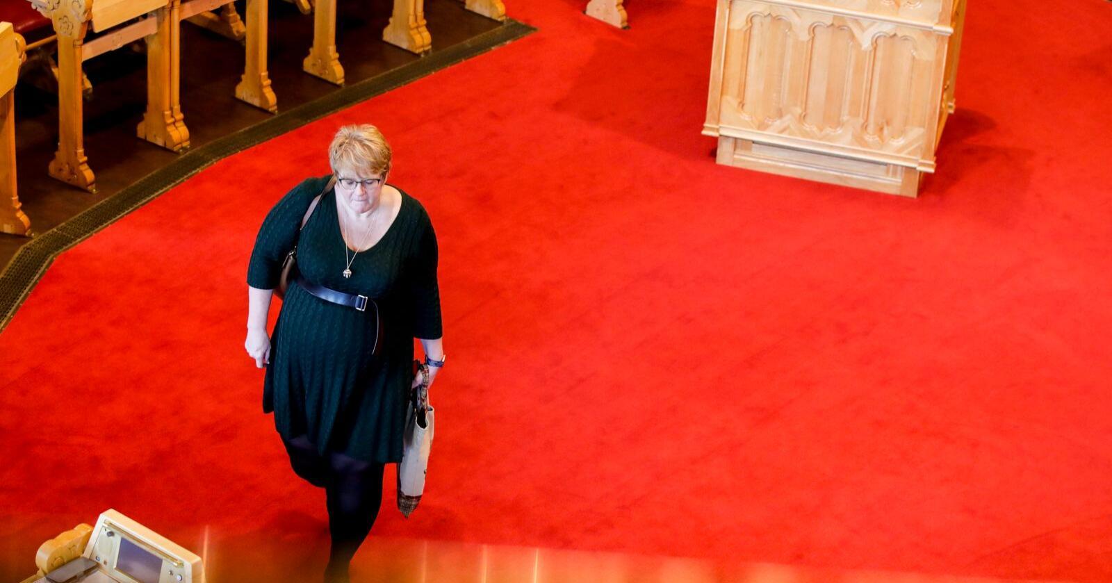 Trine Skei Grande går av som Venstre-leder og statsråd. på Stortinget.  Her er hun på stortinget under spørretimen onsdag. Foto: Vidar Ruud / NTB scanpix