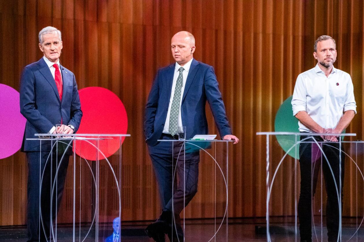 Mange kranglesaker ligger på bordet dersom det blir regjeringsforhandlinger mellom Ap-leder Jonas Gahr Støre, Sp-leder Trygve Slagsvold Vedum og SV-leder Audun Lysbakken. Foto: Håkon Mosvold Larsen/NTB