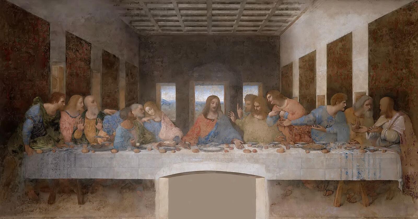 MEST KJENT: Leonardo Da Vincis nattverd  far 1490-årene er et av verdens mest kjente kunstverk. Kilde: Wikimedia Commons
