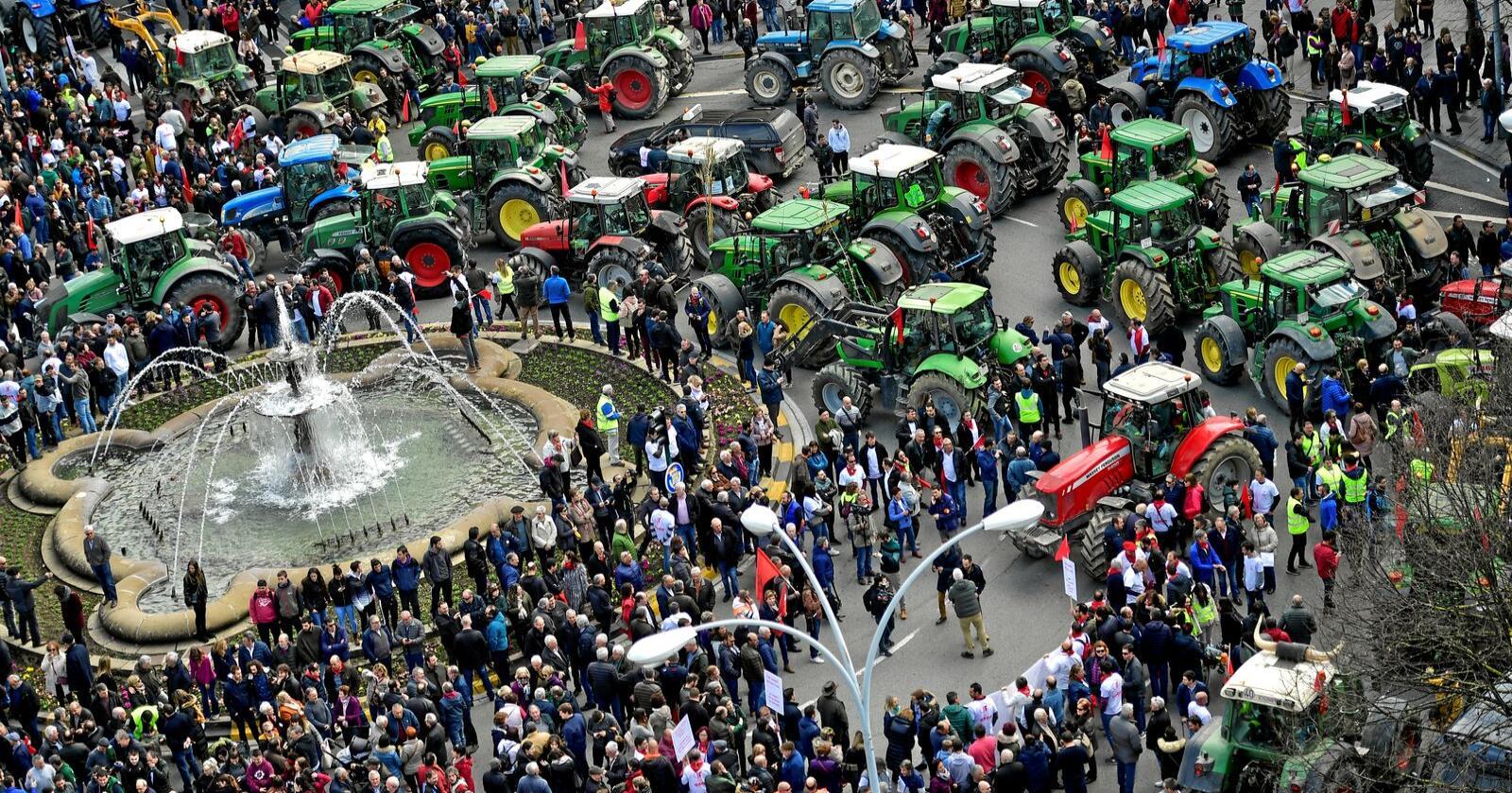Store demonstrasjoner i Pamplona nord i Spania 19. februar. Foto: Alvaro Barrientos / AP / NTB Scanpix