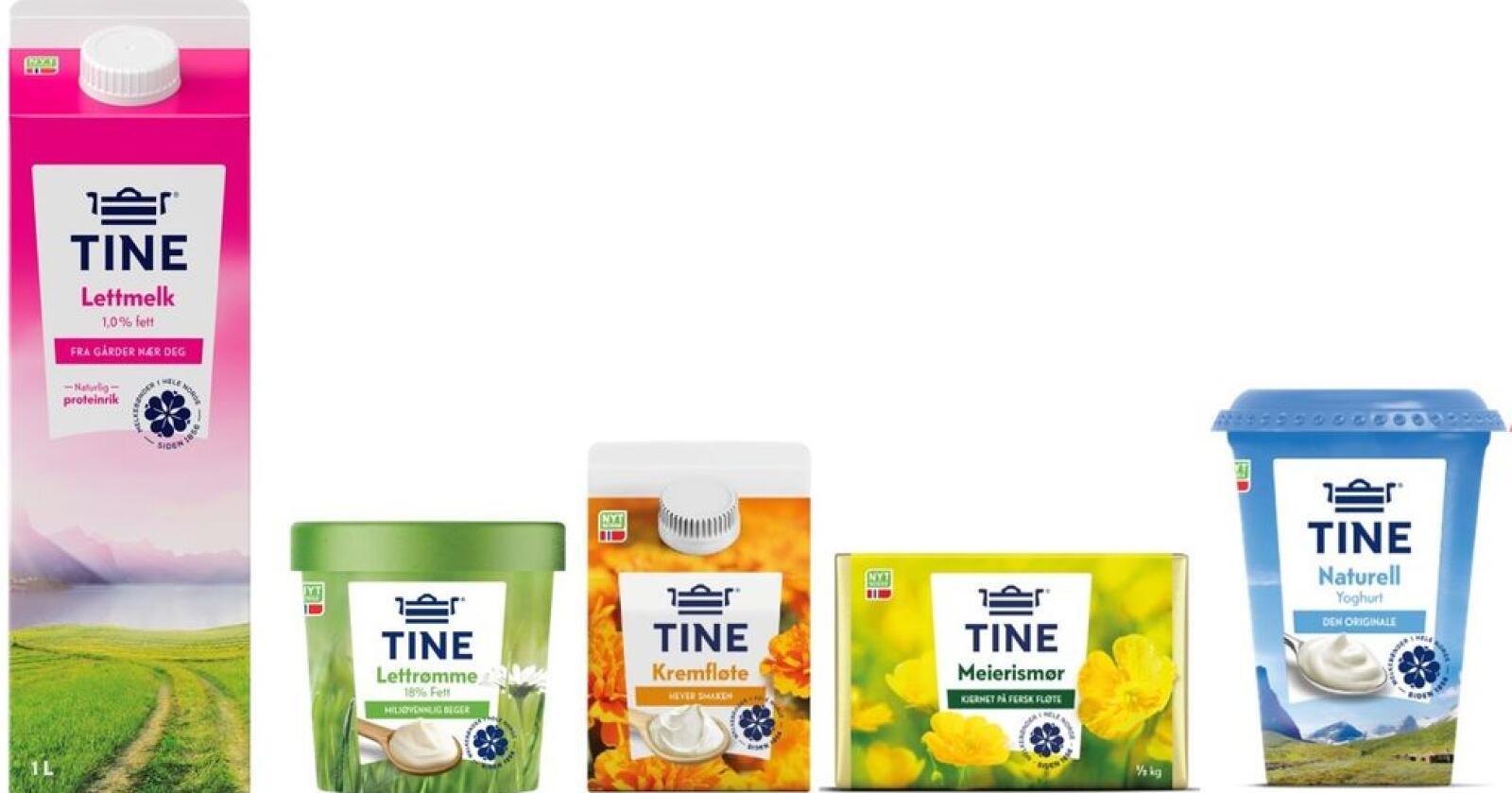 Flere av Tines produkter får nå nytt utseende. Foto: Tine