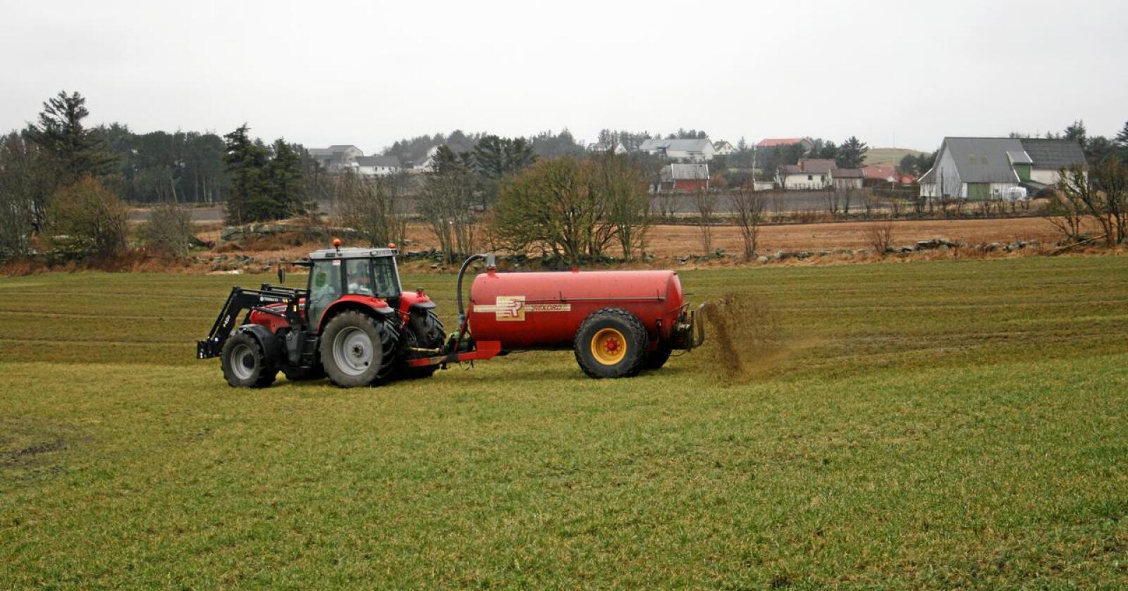 To bønder på Jæren får 500 kroner per dag hver i tvangsmulkt, så langt 31.000 kr til sammen på en måned, fordi de ikke har dokumentert at de har nok spredeareal til gjødsel. Illustrasjonsfoto: Bjarne Bekkenheien Aase