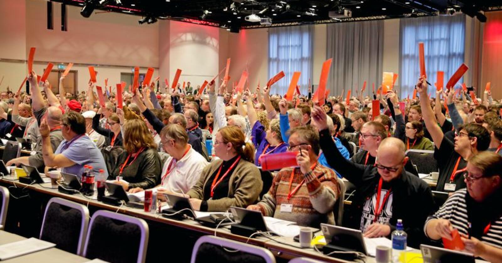Avsetmning: Fellesforbundets landsmøte stemte over EØS-avtalen. Foto: Vidar Ruud / NTB scanpix