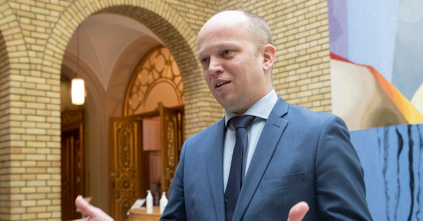 Foten ned: Senterpartileder Trygve Slagsvold Vedum setter foten ned for samrøre mellom politikk og pr-byråene. Foto: Terje Bendiksby / NTB