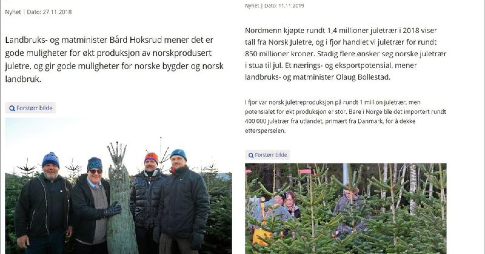 To år på rad har Landbruks- og matdepartementet lagd nyhetsartikler om at statsråden vil ha flere juletrær. Faksimile: regjeringen.no