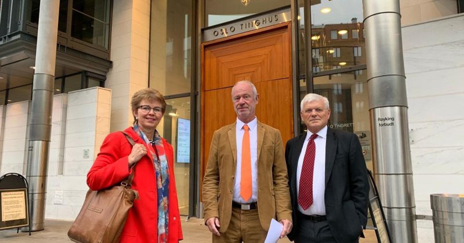 Kathrine Kleveland (t.v.), Bent Endresen og Kjell Brygfjeld møtte måndag i retten på vegner av Nei til EU. Foto: Nei til EU