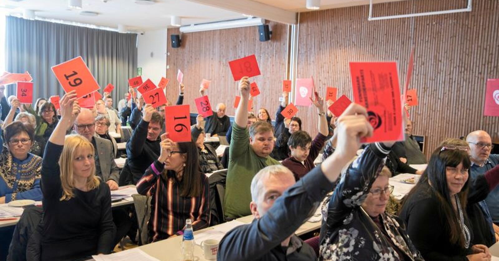 Nei: Fra årsmøtet i Finnmark Ap  som sa nei til avtalen om sammenslåing med Finnmark og Troms. Foto: Vidar Ruud/NTB scanpix