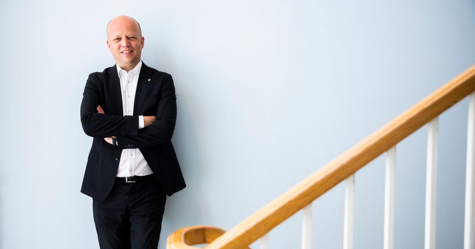 OSLO, NORGE 20210601. Partileder Trygve Slagsvold Vedum (Sp) i forkant av landsmøtet.Foto: Berit Roald / NTB