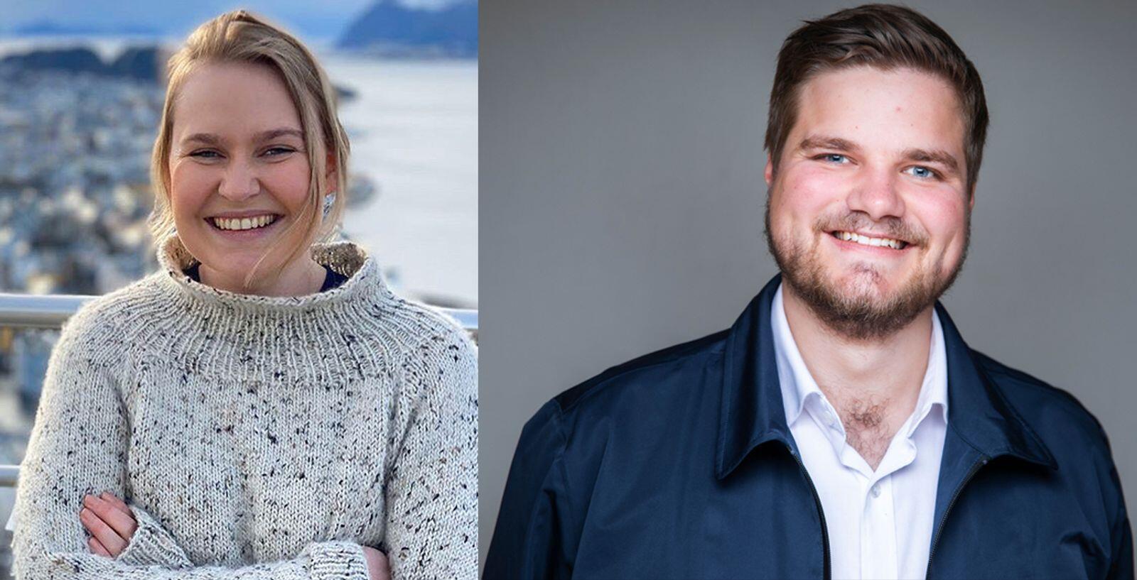 Åse Kristin Ask Bakke (25) fra Møre og Romsdal Ap og Tobias Drevland Lund (25) fra Telemark Rødt er de to yngste av de nyvalgte stortingsrepresentantene. Fotokollasje: Privat/Ihne Pedersen