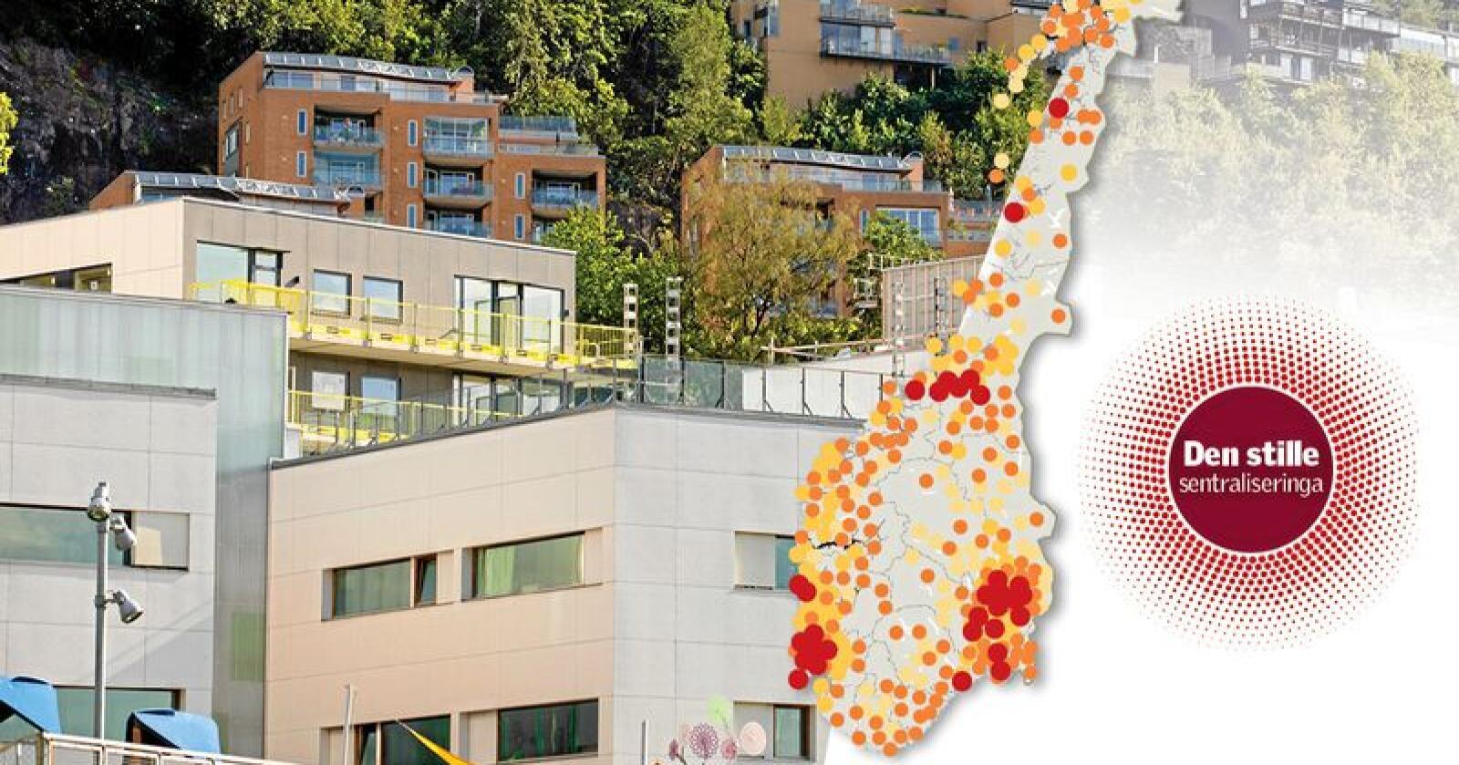 Formuene i Norge blir mer og mer samlet i de største byene. Oslo har hatt største veksten i medianformue siden 2005 - og har vokst nesten sju ganger så mye som Norges fattigste kommune. Grafikk: Käthe Friess Foto: NTB Scanpix