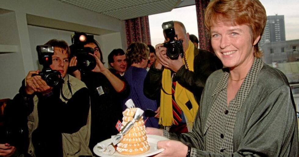 Anne Enger kunne feire dagen etter EU-valget i 1994. Foto: Johnny Syversen / NTB Scanpix