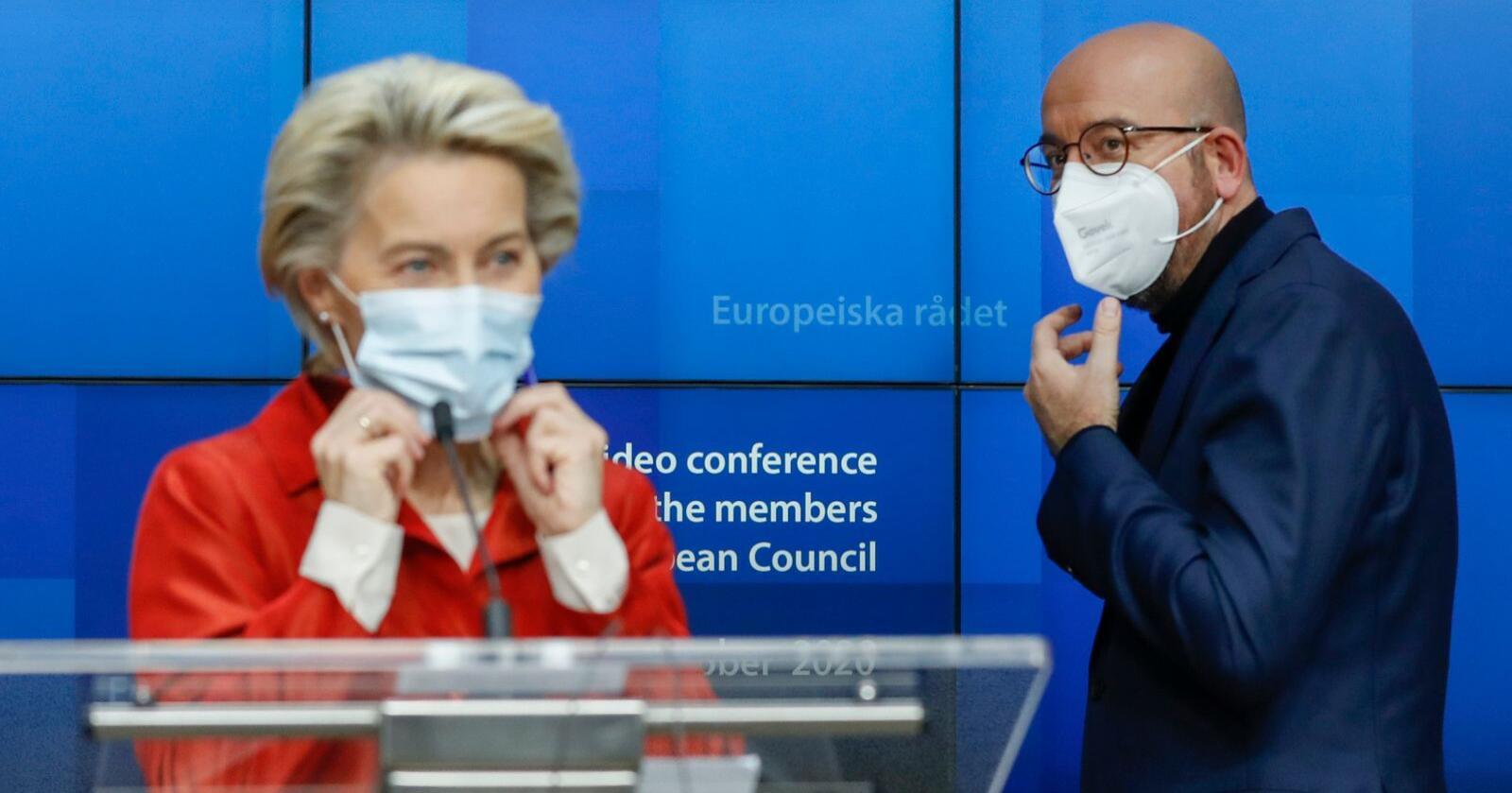 Ursula von der Leyen sier det er god fremdrift i samtalene med britene. Charles Michel håper å kunne starte en ratifiseringsprosess i midten av november. Foto: Olivier Hoslet / AP / NTB