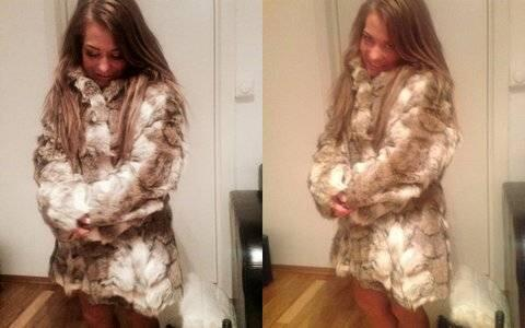 Her poserer Sandra Borch i sin nye ulvepels. Bildene har hun lagt ut på sin Facebook-side. Foto: Privat