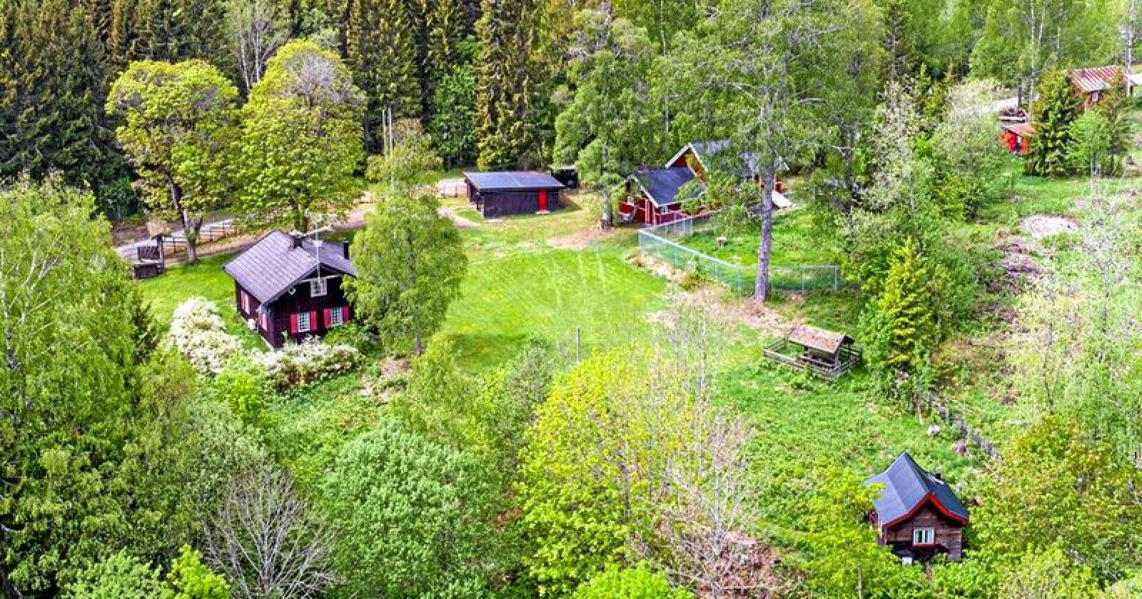 Småbruket Stua i Nittedal. Den spesielle eigedomen ligg til sals på Finn.no, og rommar mellom anna eit privat gravkammer. Foto: Skjermdump frå Finn.no